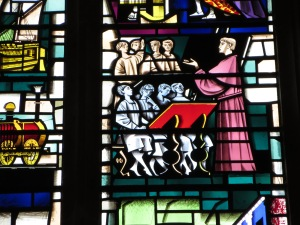 Detail of Alcuin from H.W. Harvey's 1960 painted glass window in the Guildhall (by M.Garrison)